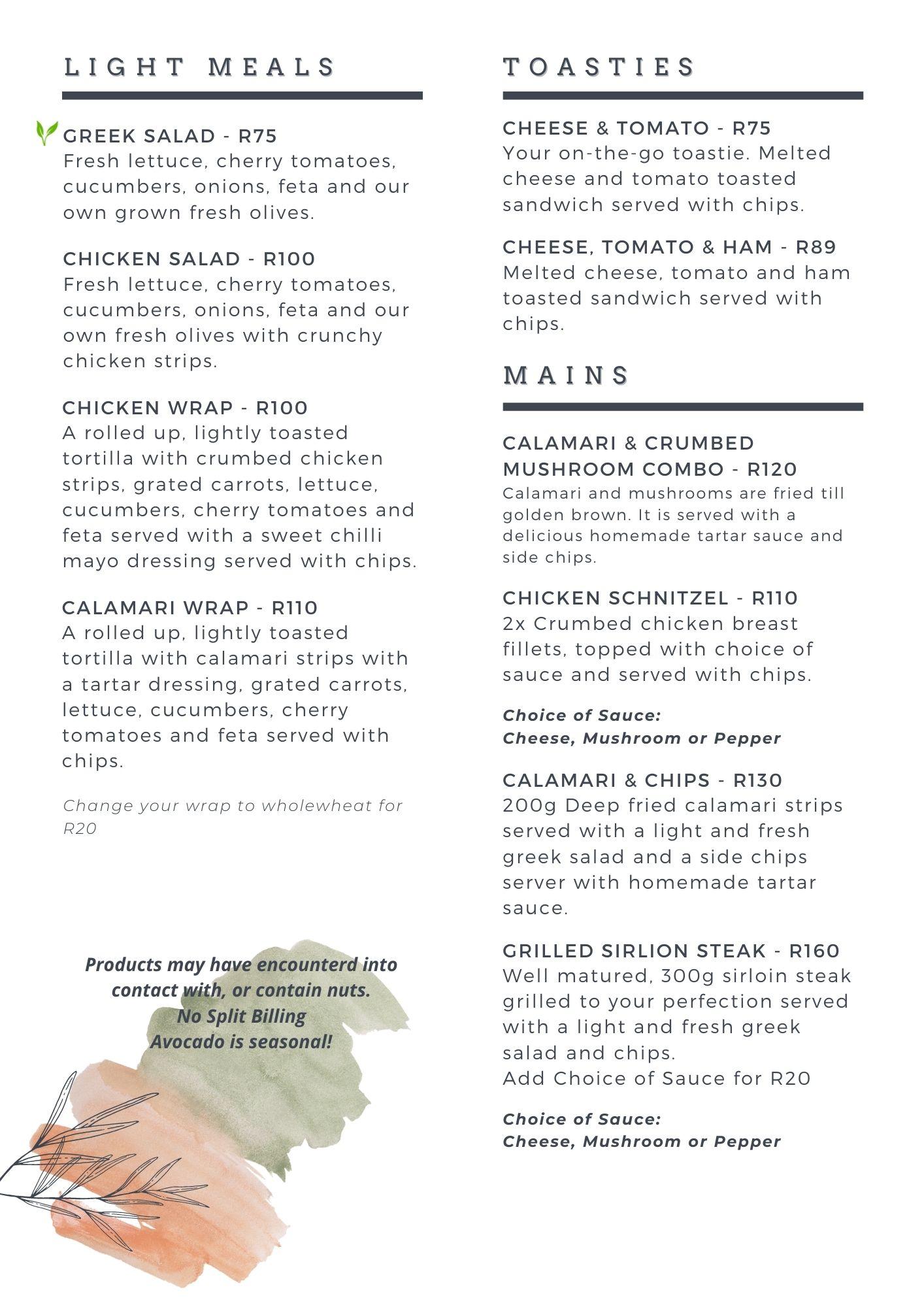 light meals & mains